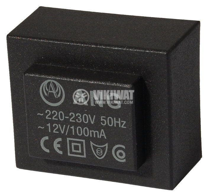 Tрансформатор за печатен монтаж 12 VAC, 1.2 VA - 1
