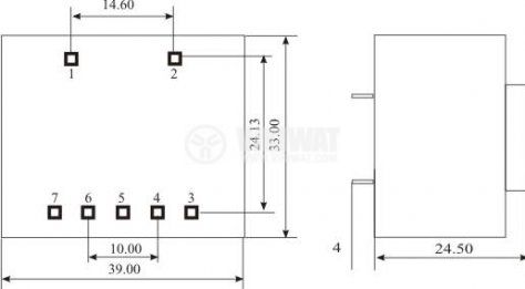 Tрансформатор за печатен монтаж 2 x 12 VAC, 1.3 VA - 3