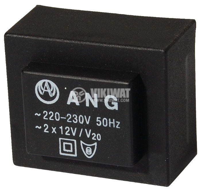 Tрансформатор за печатен монтаж 2 x 12 VAC, 1.3 VA - 1