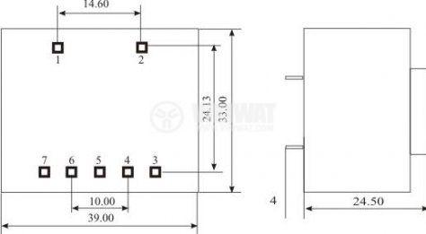 Tрансформатор за печатен монтаж 15 VAC, 1.5 VA - 3