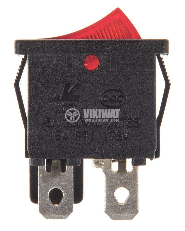 Rocker превключвател, 2 позиции, OFF-ON, 6A/250VAC, отвор 19x13mm - 2