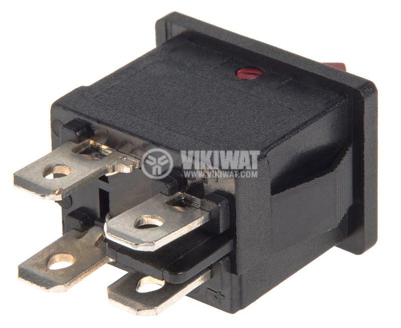 Rocker превключвател, 2 позиции, OFF-ON, 6A/250VAC, отвор 19x13mm - 3
