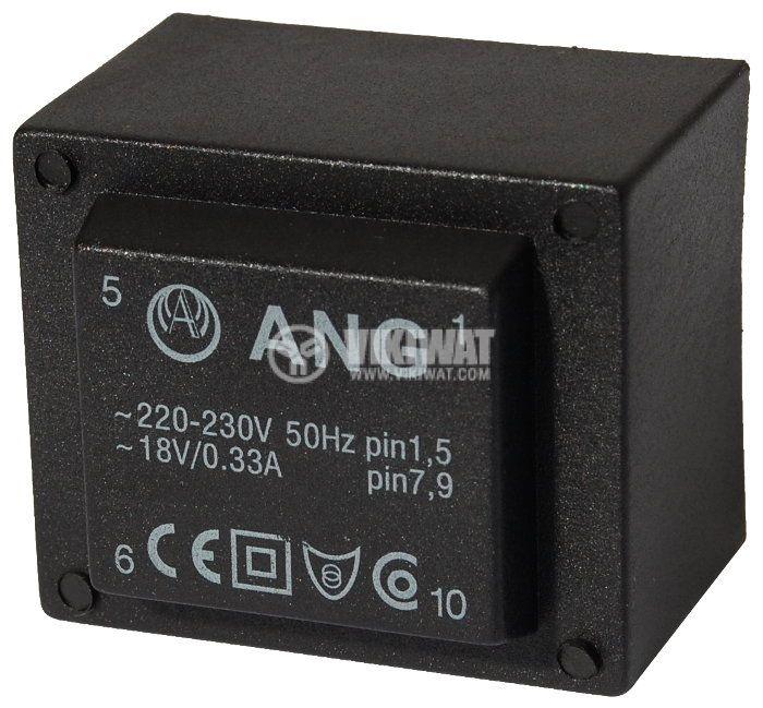 Tрансформатор за печатен монтаж 230 / 18 VAC, 6 VA - 1