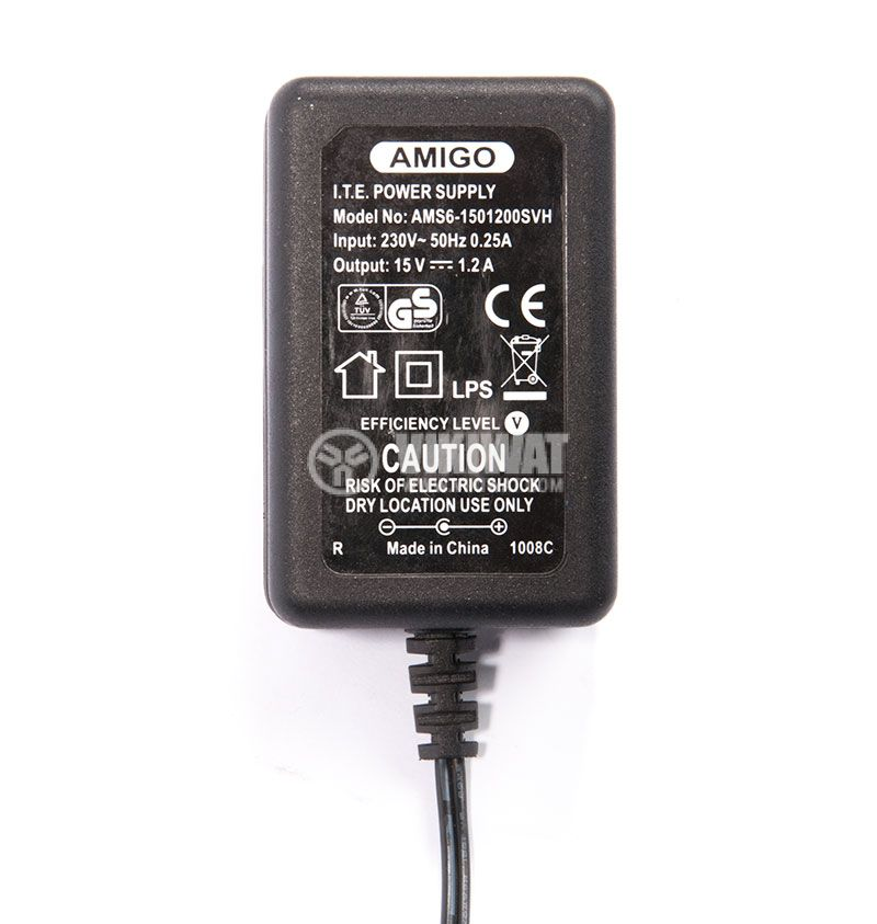 Adapter 100-240VAC, 15VDC, 1,2A, AC-DC stabilized, 5.5x2.1mm - 3