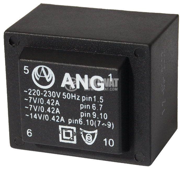 Tрансформатор за печатен монтаж 230 /  2 х 7 VAC, 6 VA - 1