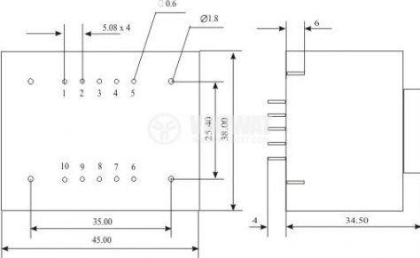 Tрансформатор за печатен монтаж 230/ 2 х 9 VAC, 6 VA - 3