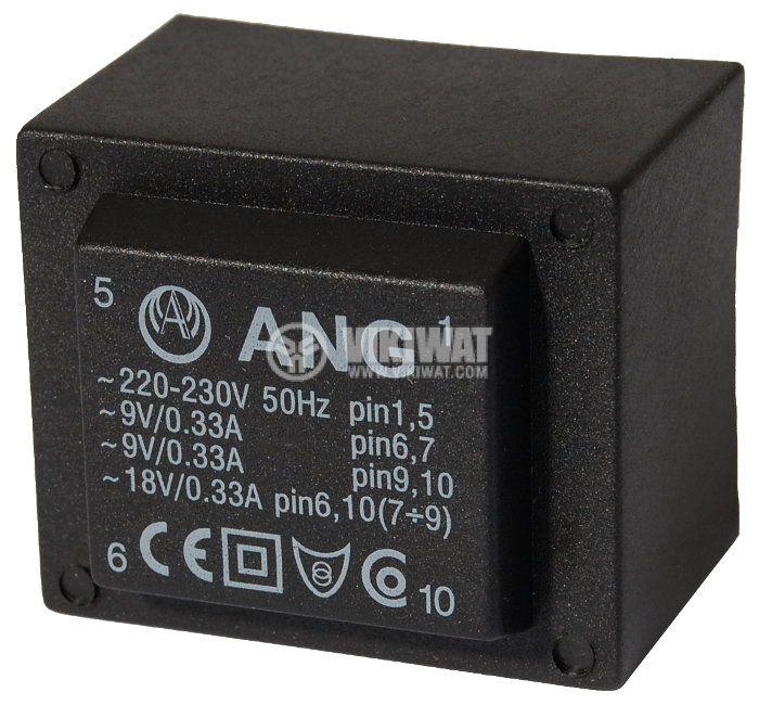 Tрансформатор за печатен монтаж 230/ 2 х 9 VAC, 6 VA - 1