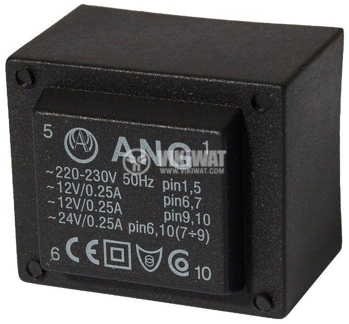 Трансформатор за печатен монтаж 230 / 2 х 12 VAC 6 VA - 1