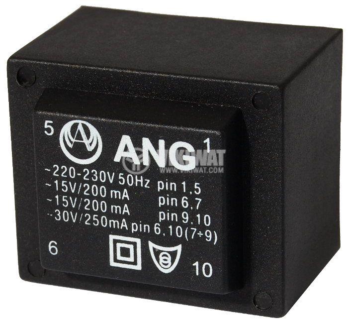 Tрансформатор за печатен монтаж 230 / 2 х 15 VAC, 6 VA - 1