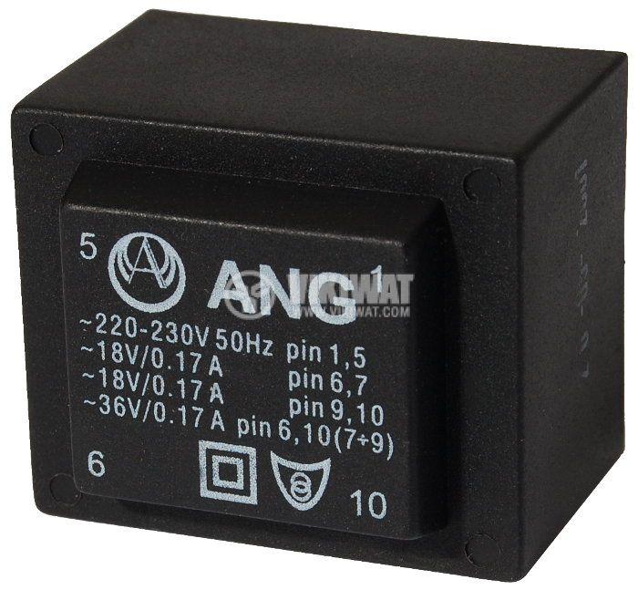 Tрансформатор за печатен монтаж 2 х 18 VAC, 6 VA - 1