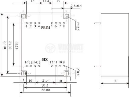 Tрансформатор за печатен монтаж 2 х 7.5 VAC, 18 VA - 3