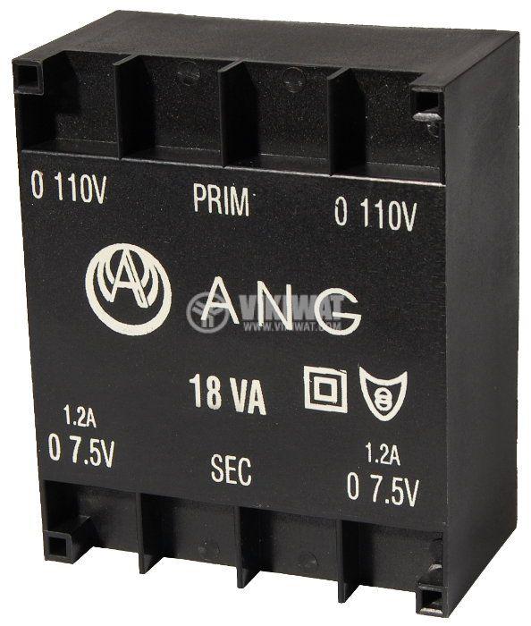 Tрансформатор за печатен монтаж 2 х 7.5 VAC, 18 VA - 1