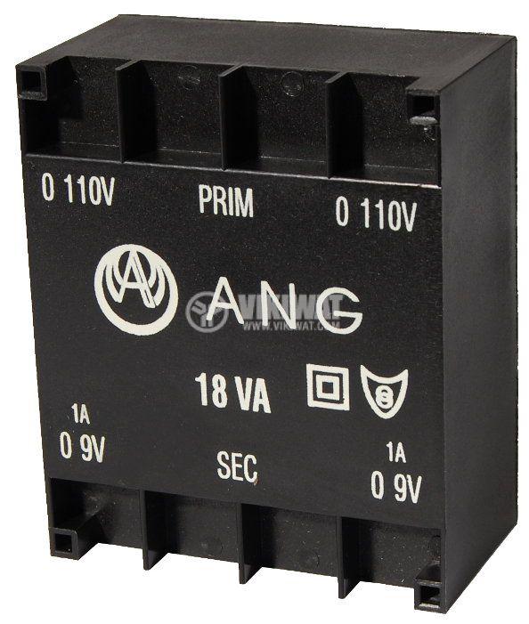 Трансформатор за печатен монтаж 230 / 2 х 9 VAC 18 VA - 1