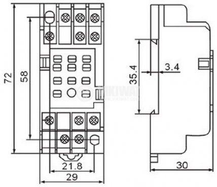 Цокъл за реле PYF 11A 300VAC 10А 11pin - 2