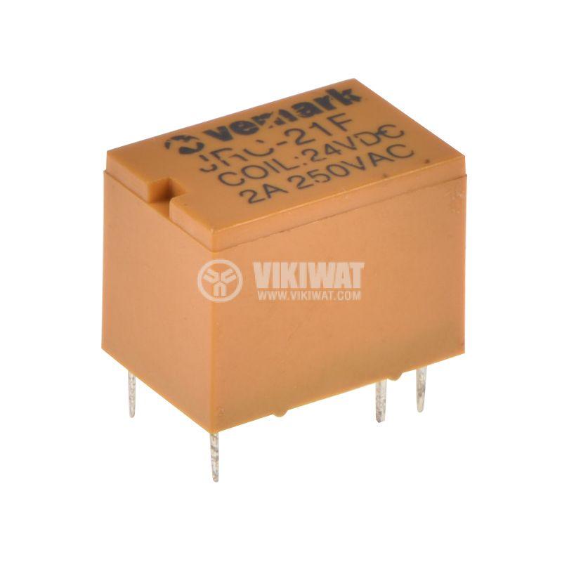 Реле електромагнитно JRC-21F, бобина 24VDC, 250VAC/0.5A, SPDT - NO+NC - 1