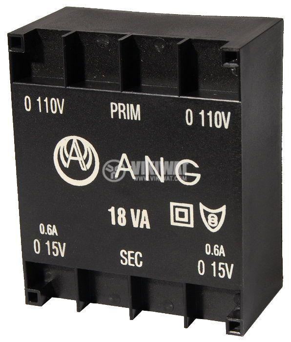 Tрансформатор за печатен монтаж 2 x 15 VAC, 18 VA - 1