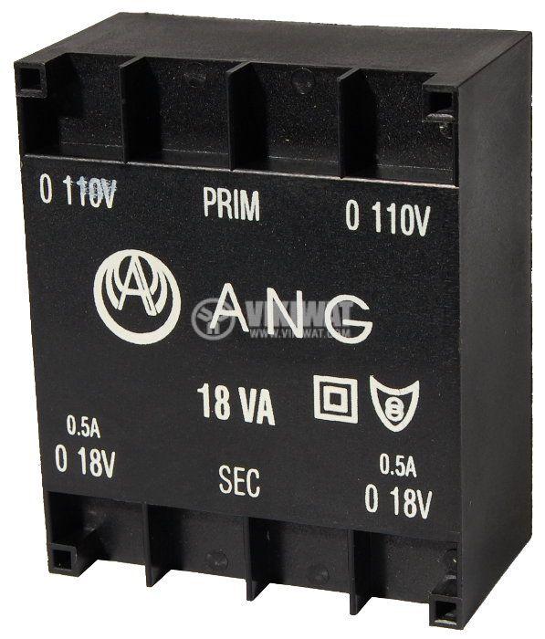 Tрансформатор за печатен монтаж 2 x 18 VAC, 18 VA - 1