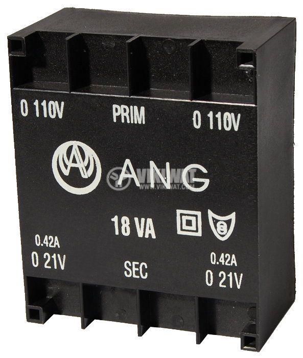 Tрансформатор за печатен монтаж 2 x 21 VAC, 18 VA - 1
