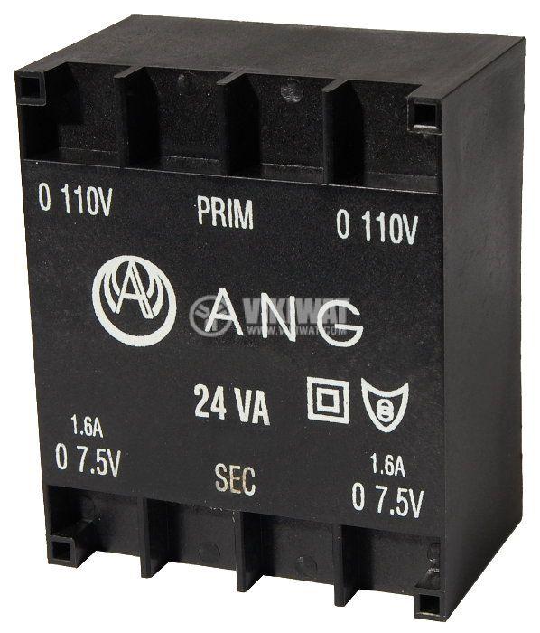 Tрансформатор за печатен монтаж 230 / 2 x 7.5 VAC, 24 VA - 1