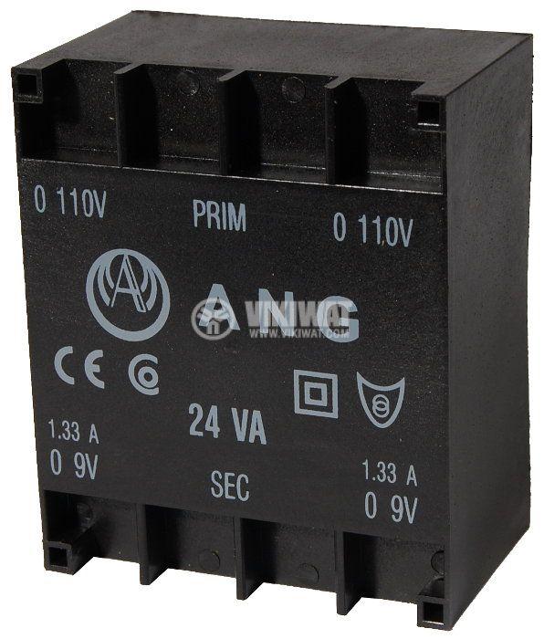 Tрансформатор за печатен монтаж 230 / 2 x 9 VAC, 24 VA - 1