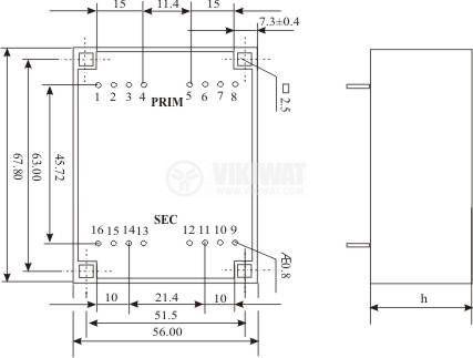 Tрансформатор за печатен монтаж 230 / 2 x 10.5 VAC, 24 VA - 3