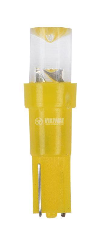 Автомобилна LED (светодиодна) лампа, T5, DIP, 12VDC, дифузна, жълта - 1