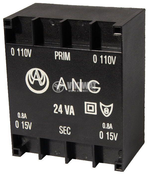 Tрансформатор за печатен монтаж 230 / 2 x 15 VAC, 24 VA - 1
