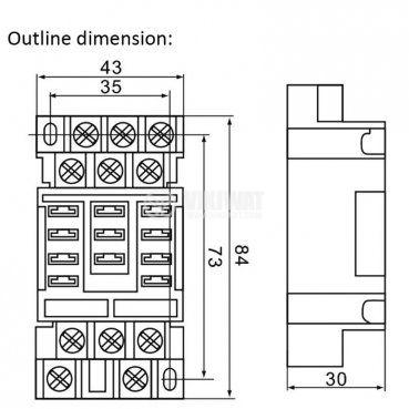 Цокъл за реле 38F11A, 300 VAC, 50 А, 11pin - 2