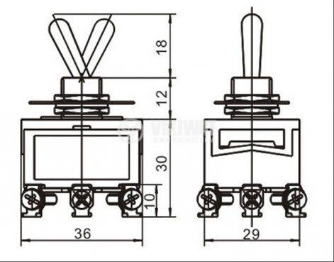 ЦК ключ XT32B, 15А/250VAC, 3PDT, ON-ON - 2