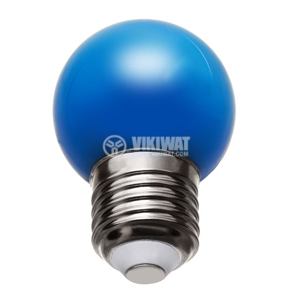 LED лампа BA70-0125, E27, 1W, 220VAC, мини сфера, син - 2