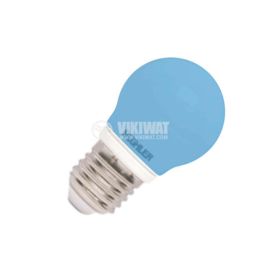 LED лампа 1W, E27, 220VAC, мини сфера, синя, BA70-0125 - 1