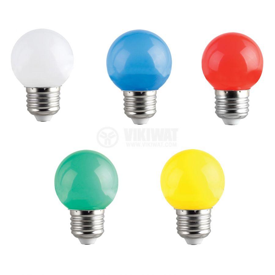 LED лампа 1W, E27, G45, 220VAC, мини сфера, синя, BA70-0125 - 4
