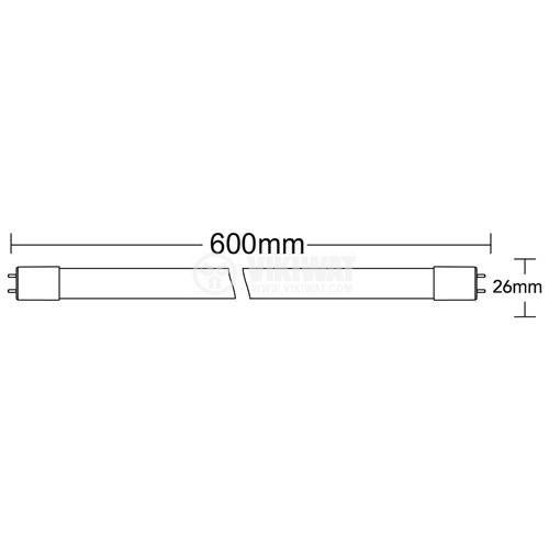 LED тръба SE, 600mm, 9W, 220VAC, 900lm, 6500K, студено бяла, G13, T8, едностранна, BA52-20683 - 2