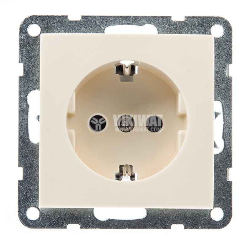 Electric socket, Shuko, LM60021P, built-in, 16A, 250VAC, cream color - 1