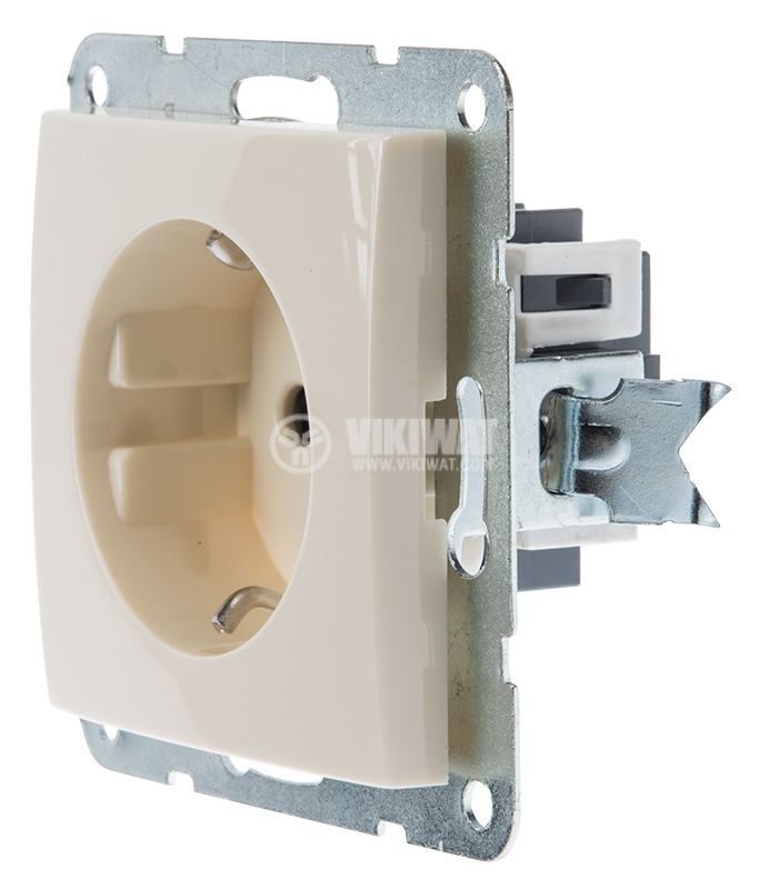 Electric socket, Shuko, LM60021P, built-in, 16A, 250VAC, cream color - 2