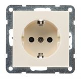 Electric socket, Shuko, LM60021P, built-in, 16A, 250VAC, cream color