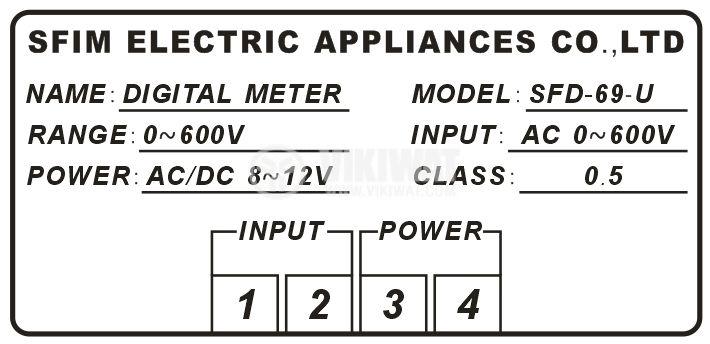 Digital voltmeter, 0-600V AC, SFD-69 - 3