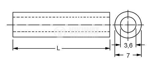 Дистанционна втулка, цилиндрична, полистирол, дължина 3 mm - 2