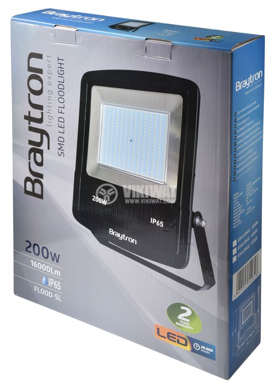 LED floodlight 200W, 220VAC, 16000lm, 3000K, warm white,  IP65, waterproof, SLIM, BT61-09602 - 8