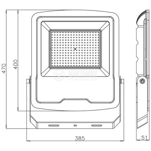 LED floodlight 200W, 220VAC, 16000lm, 3000K, warm white,  IP65, waterproof, SLIM, BT61-09602 - 3