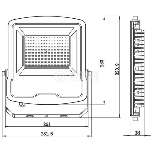 LED floodlight 100W, 220VAC, 8500lm, 6400K, cool white, IP65, waterproof, SLIM, BТ61-09132BТ61-09132 - 3