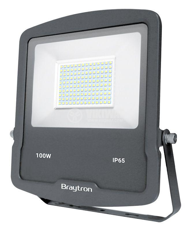 LED floodlight 100W, 220VAC, 8500lm, 6400K, cool white, IP65, waterproof, SLIM, BТ61-09132BТ61-09132 - 1