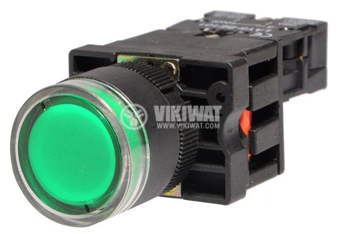 Бутон LAY5-EW3371 400VAC/10A SPST - NО зелен, светещ - 2