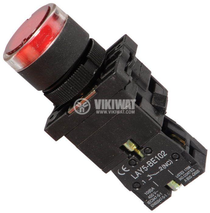 Бутон LAY5-EW3472 400V/10A SPST-NC червен, светещ 220VAC, глим лампа - 1