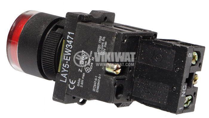 Бутон LAY5-EW3472 400V/10A SPST-NC червен, светещ 220VAC, глим лампа - 2
