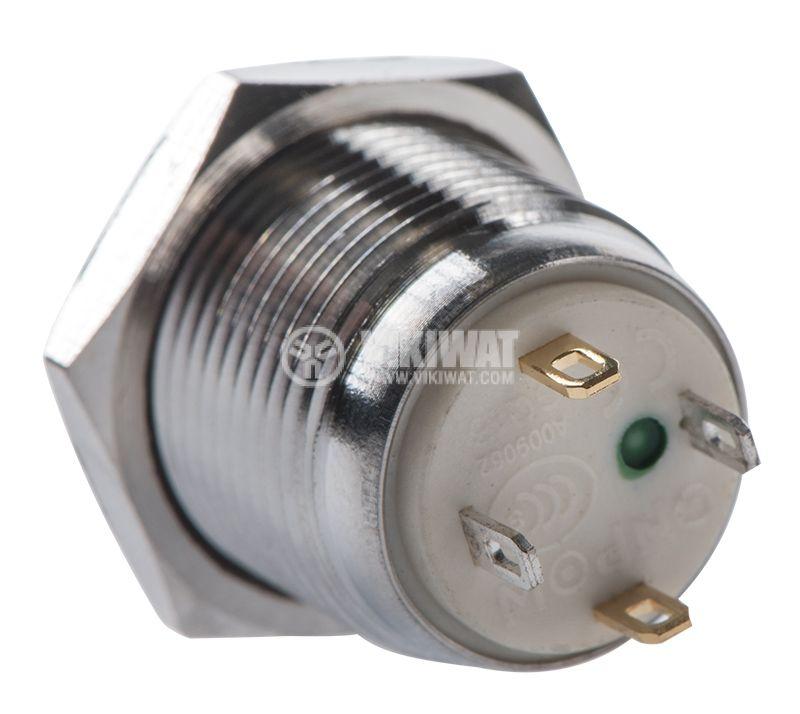 Button, V16-10D-12G-S, 2A, 36VDC, SPST NO, non-holding - 3