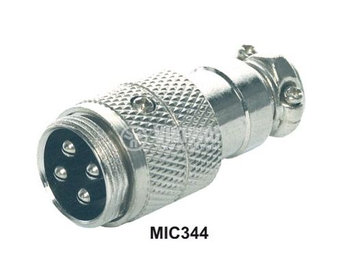 Microphone plug male, 4-pin, straight