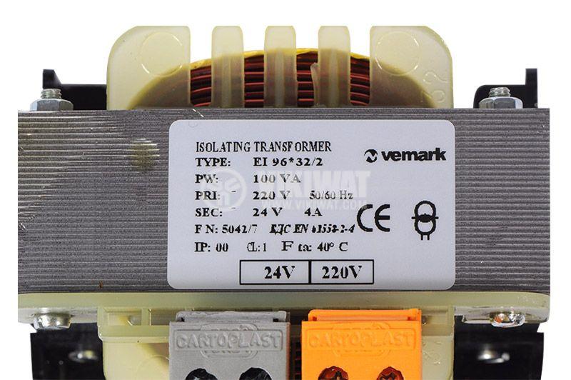 Shell Type Transformer, 230 / 24 VAC, 100 VA - 3