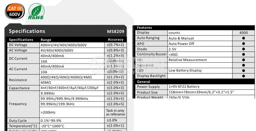 Multimeter MS8209 - 2