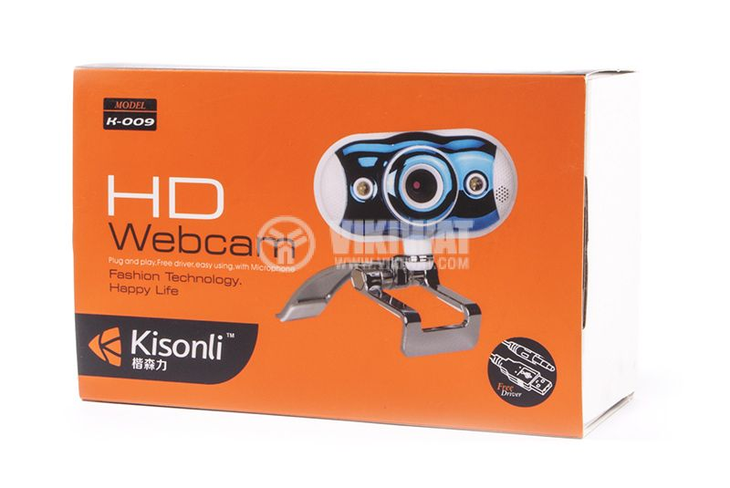 Web camera, Kisonli K-008, USB, LED light with pinch - 4